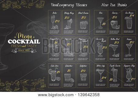Front Drawing horisontal cocktail menu design on blackboard background BW
