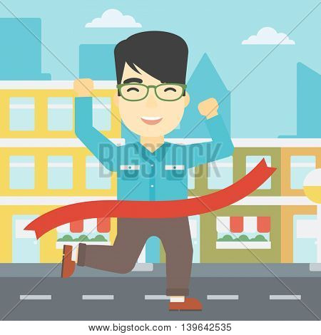 An asian young businessman running at the finish line. Businessman crossing finish line. Concept of business success. Vector flat design illustration. Square layout.