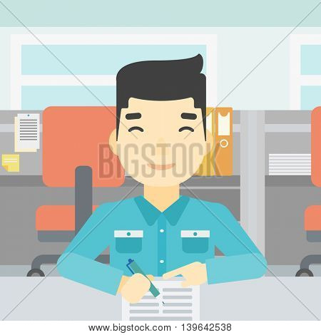 An asian young businessman signing business documents in office. Man is about to sign a business agrement. Confirmation of business transaction. Vector flat design illustration. Square layout.