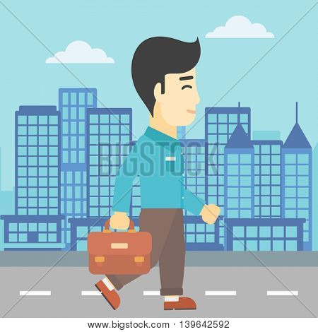 An asian young businessman walking with a briefcase. Businessman walking down the street. Vector flat design illustration. Square layout.