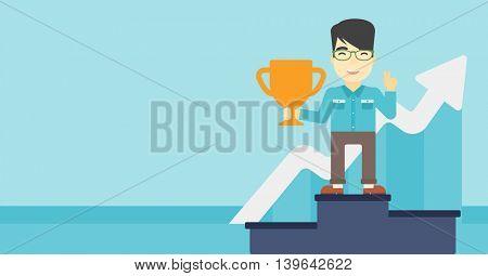 An asian businessman standing on a pedestal with winner cup. Businessman celebrating his business award. Business award concept. Vector flat design illustration. Horizontal layout.