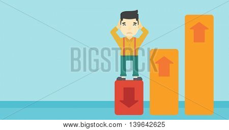 An asian bankrupt clutching his head. Businessman standing on chart going down. Concept of business bankruptcy. Vector flat design illustration. Horizontal layout.