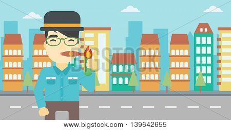 An asian businessman lighting a cigar with dollar bill. A successful businessman smoking a cigar on the background of modern city. Vector flat design illustration. Horizontal layout.