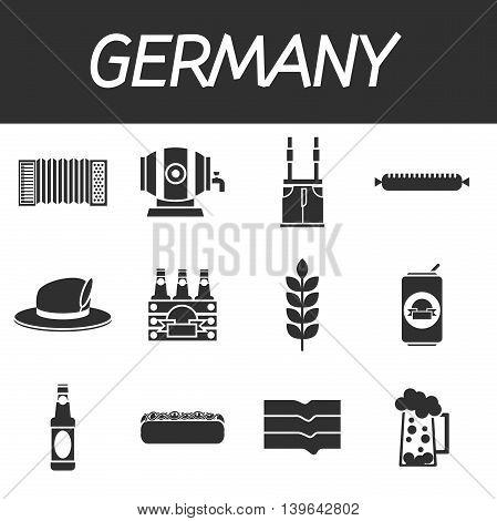 Germany icons set. Traveling Euope. Vector illustration, EPS 10