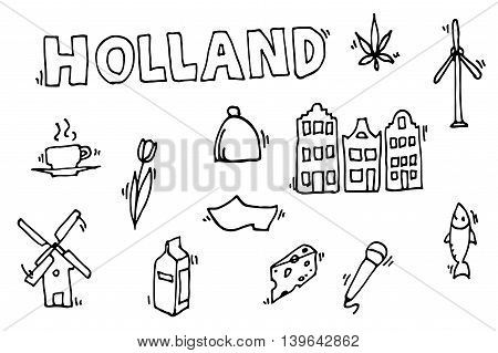 Holland icons set. Vector illustration, EPS 10