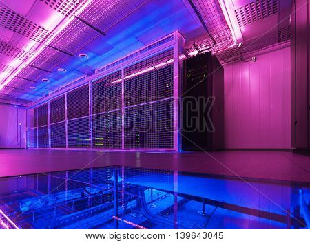 Empty server room of the modern data center.