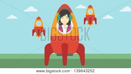 An asian business woman in headphones flying in the rocket. Successful business start up concept. Business rocket taking off. Vector flat design illustration. Horizontal layout.