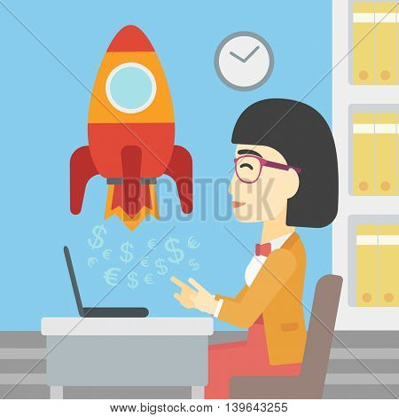 An asian young business woman sitting at the table and looking at a business start up rocket taking off. Business start up concept. Vector flat design illustration. Square layout.
