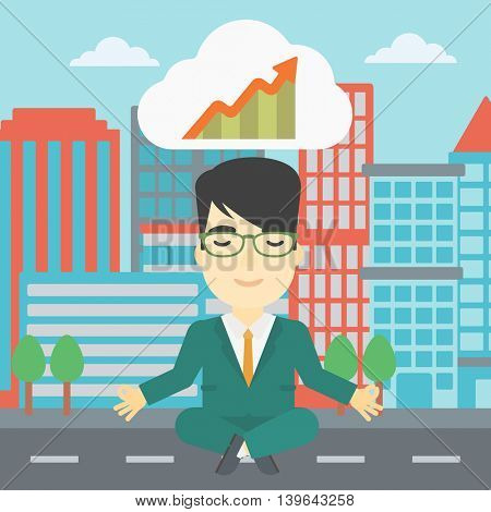 An asian businessman with eyes closed doing yoga outdoor. Businessman thinking about the growth graph and meditating in lotus pose on a city background. Vector flat design illustration. Square layout.
