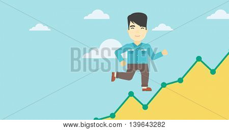 An asian young businessman running along the growth graph. Businessman going up. Happy businessman moving up. Successful business concept. Vector flat design illustration. Horizontal layout.