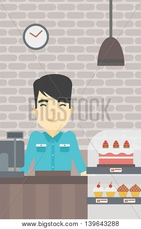 An asian smiling bakery worker offering different pastry. A bakery worker standing behind the counter with cakes at the bakery. Vector flat design illustration. Vertical layout.