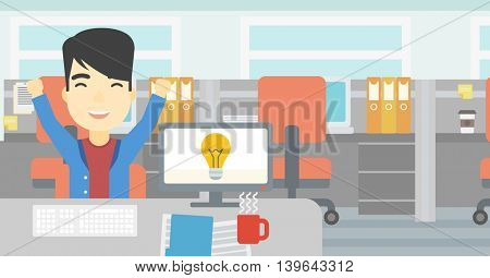 An asian businessman with arms up having a business idea. Man working on a computer with a business idea bulb on a screen. Business idea concept. Vector flat design illustration. Horizontal layout.