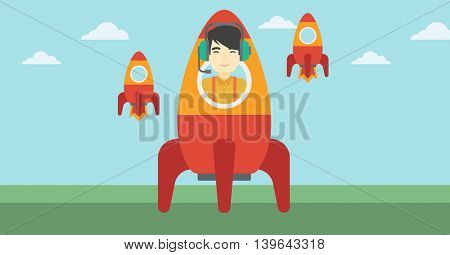 An asian businessman in headphones flying in the rocket. Successful business start up concept. Business rocket taking off. Vector flat design illustration. Horizontal layout.