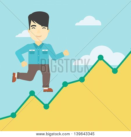 An asian young businessman running along the growth graph. Businessman going up. Happy businessman moving up. Successful business concept. Vector flat design illustration. Square layout.