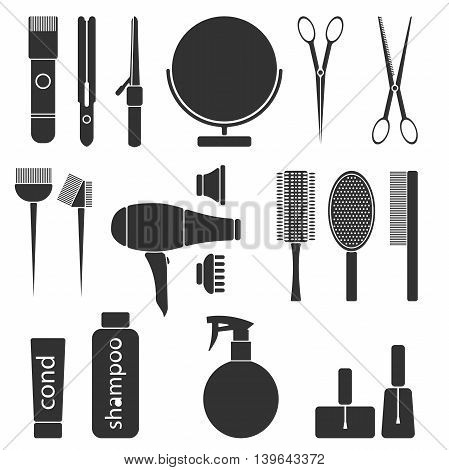 Beauty salon monochrme tools. Hairdresser styling accessories. Professional haircut icon set. Isolated vector illustration
