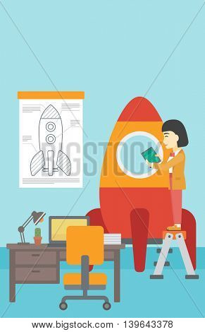 An asian  woman standing on ladder and engeneering a rocket. Woman working on the start up of a new business. Business start up concept. Vector flat design illustration. Vertical layout.