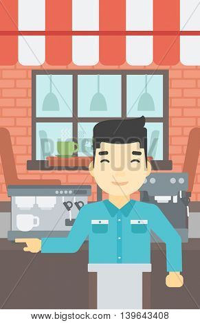 An asian young barista sanding in front of coffee machine. Barista at coffee shop. Professional barista making a cup of coffee. Vector flat design illustration. Vertical layout.