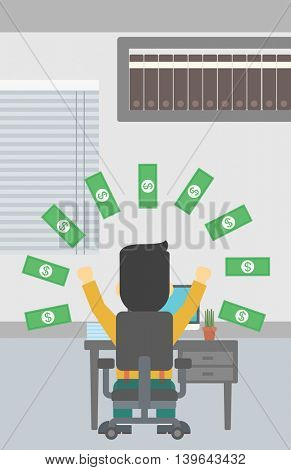 Businessman with raised hands celebrating while sitting under money rain. Successful business concept. Vector flat design illustration. Vertical layout.