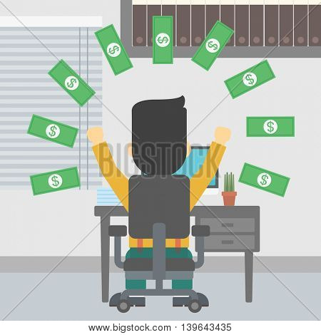 Businessman with raised hands celebrating while sitting under money rain. Successful business concept. Vector flat design illustration. Square layout.