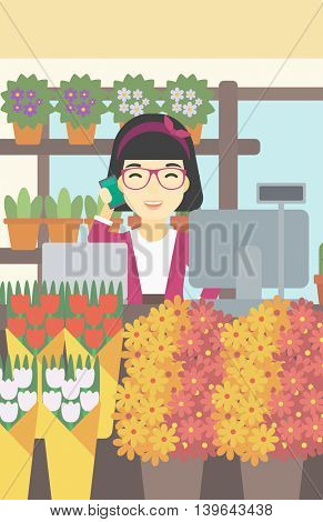 An asian female florist using telephone and laptop to take orders for flower shop. An excited florist standing behind the counter at flower shop. Vector flat design illustration. Vertical layout.