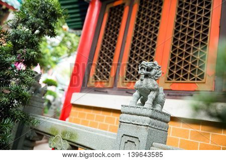 Rock Lion in chinese temple