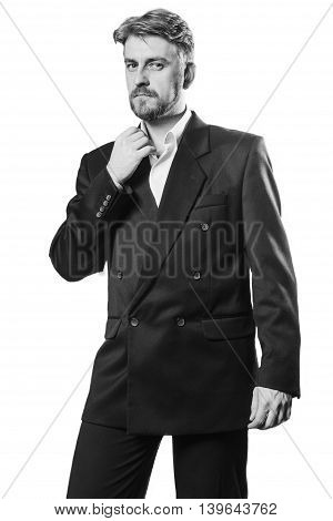 Attractive Blond Bearded Man In A Business Suit