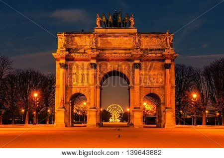 Paris, France: Arc de Triomphe du Carrousel in the sunrise