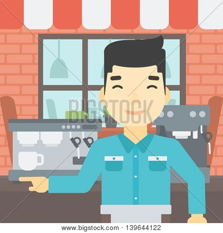 An asian young barista sanding in front of coffee machine. Barista at coffee shop. Professional barista making a cup of coffee. Vector flat design illustration. Square layout.