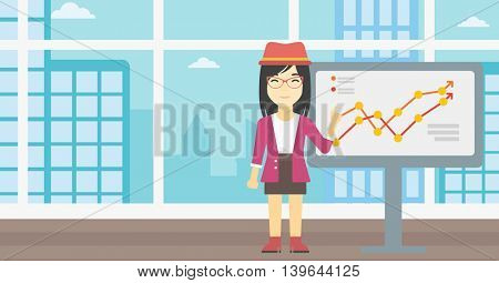 An asian young business woman pointing at charts on a board during business presentation. Smiling business woman giving a business presentation. Vector flat design illustration. Horizontal layout.