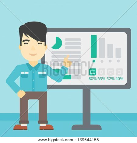 An asian businessman pointing at charts on a board during business presentation. Man giving business presentation. Vector flat design illustration. Square layout.