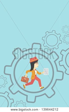 An asian  young business woman running with a briefcase and a document inside the gear. Concept of stress in business. Vector flat design illustration. Vertical layout.