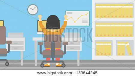 Rear view of successful african-american business woman with raised hands sitting at workplace and a board with growing chart hanging on the wall. Vector flat design illustration. Horizontal layout.