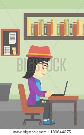 An asian young business woman working on her laptop in office. Vector flat design illustration. Vertical layout.