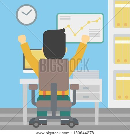 Rear view of successful businessman with raised hands sitting at workplace and a board with growing chart hanging on the wall. Vector flat design illustration. Square layout.