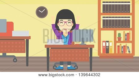 An asian  young business woman celebrating with arms up while sitting at the table in office. Successful business concept. Vector flat design illustration. Horizontal layout.