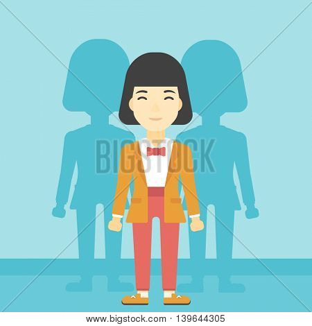 An asian young woman standing with some shadows behind her. Candidat for a position stand out from crowd. Concept of staff recruitment. Vector flat design illustration. Square layout.