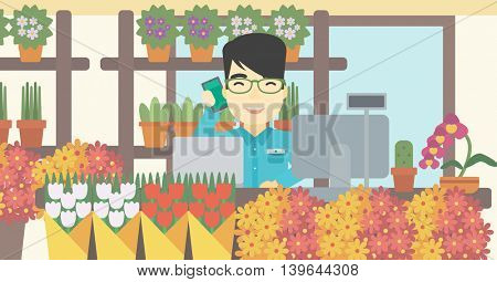An asian florist using telephone and laptop to take orders. An excited florist standing behind the counter at flower shop. Vector flat design illustration. Horizontal layout.