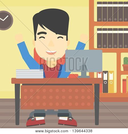 An asian  successful businessman celebrating with arms up while sitting at the table in office. Successful business concept. Vector flat design illustration. Square layout.