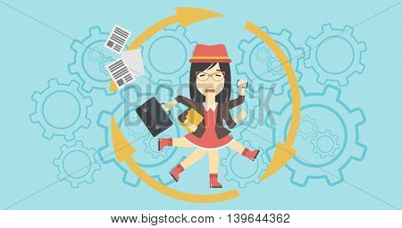 An asian  young business woman with many legs and hands holding papers, briefcase, smartphone. Multitasking and productivity concept. Vector flat design illustration. Horizontal layout.