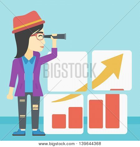 An african business woman looking through a spyglass at chart. Woman searching opportunities for business growth. Business vision concept. Business vector flat design illustration. Square layout.