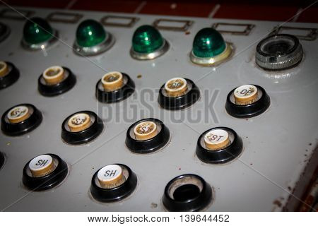 Push Button On A Control Box For Emergencies.