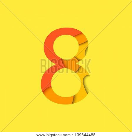 Number eight design template element. Figure 8 vector logo icon and sign in material design style.