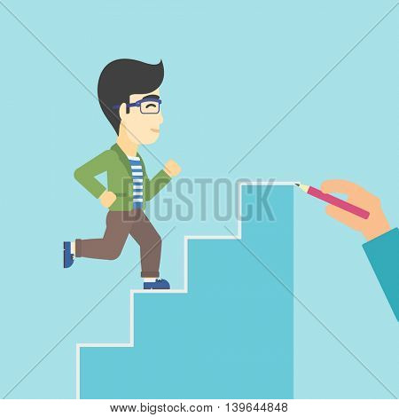 An asian businessman running up the stairs drawn by hand with pencile. Concept of business career. Vector flat design illustration. Square layout.