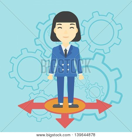 An asian  young woman standing on three alternative ways on a blue background with cogwheels. Concept of career choices. Vector flat design illustration. Square layout.