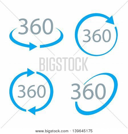 360 Degrees View simple Vector Icon set. Geometry math symbol. Full rotation.