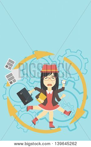 An asian  young business woman with many legs and hands holding papers, briefcase, smartphone. Multitasking and productivity concept. Vector flat design illustration. Vertical layout.