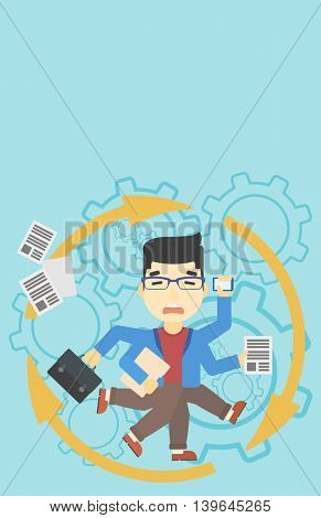 An asian businessman with many legs and hands holding papers, briefcase, smartphone. Multitasking and productivity concept. Vector flat design illustration. Vertical layout.