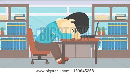 An asian  tired businessman sleeping on laptop keyboard in the office. Businessman resting at workplace. Vector flat design illustration. Horizontal layout.