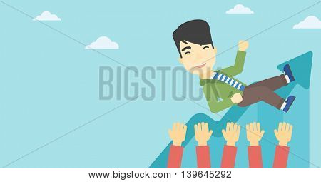 An asian young businessman get thrown into the air by coworkers during celebration. Successful business concept. Vector flat design illustration. Horizontal layout.