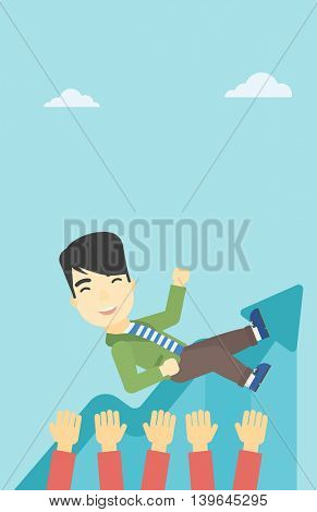 An asian young businessman get thrown into the air by coworkers during celebration. Successful business concept. Vector flat design illustration. Vertical layout.